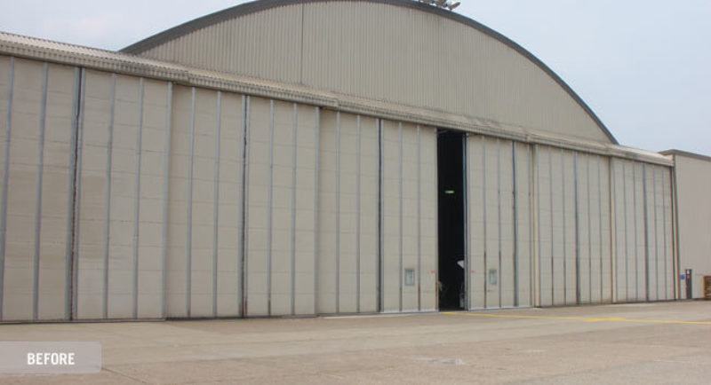 Refurbishment bottom rolling hangar door 3